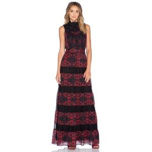 Alice + Olivia Briella Lotus Flower Maxi Dress
